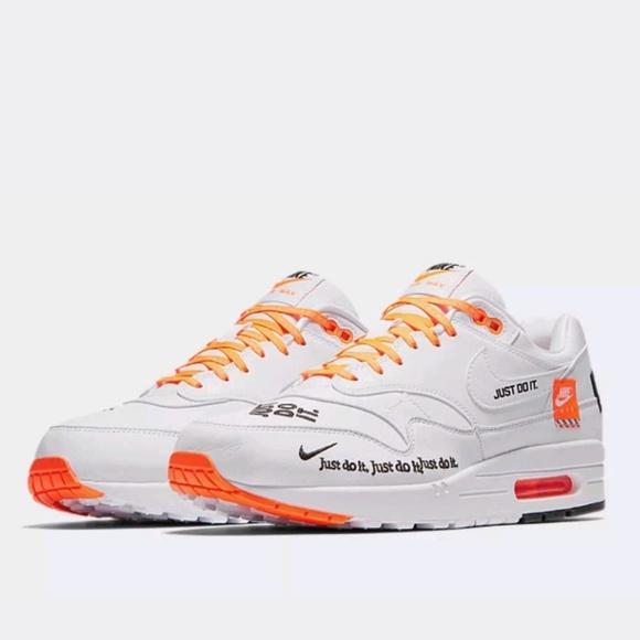 New Nike Air Max 1 SE Just Do It JDI Orange White NWT